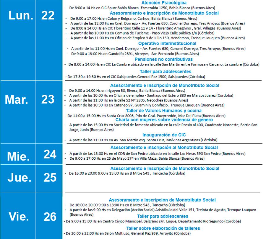 Agenda de actividades del CDR. Semana del 22 al 26 de Mayo