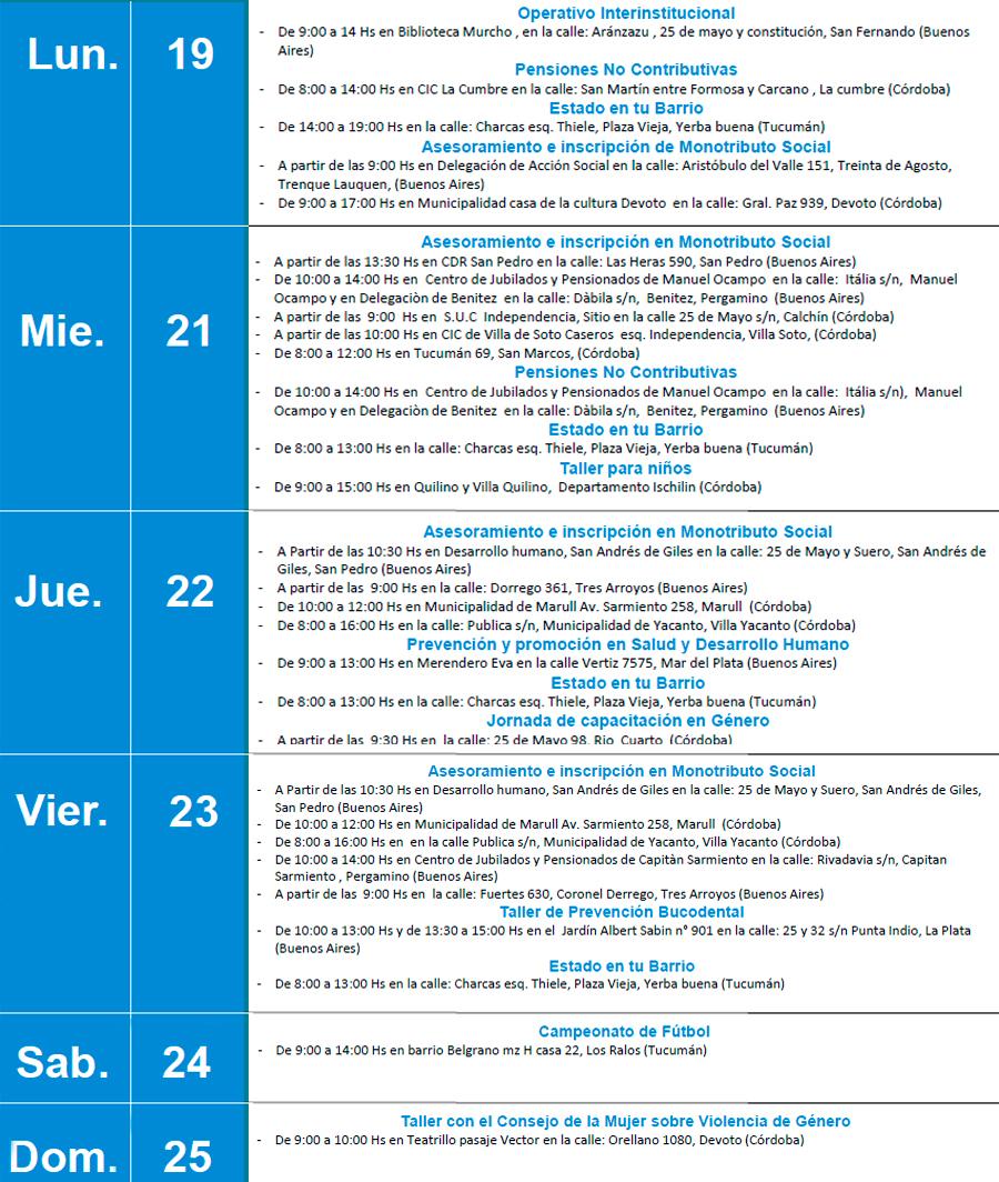 Agenda CDR. Semana del 19 al 25 de Junio