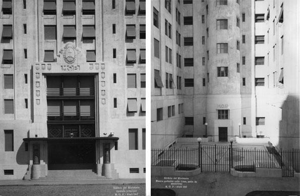 Frente y contrafrente del edificio en 1936, año de su inauguración.