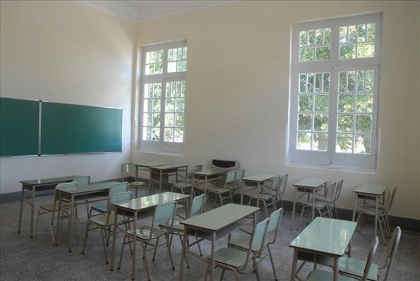 Una de las aulas de la nueva escuela agro-técnica de Marcos Paz.