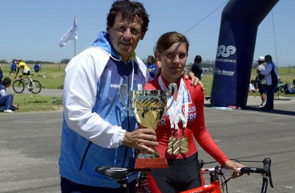 El campeón olímpico junto a Rocío Potín.