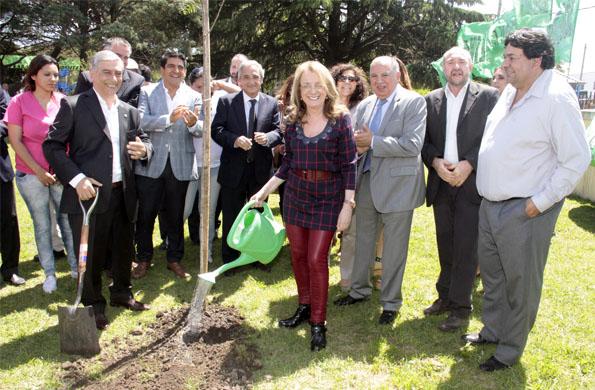 La ministra plantó un árbol, aledaño al pino que plantaran Eva y Juan Perón.