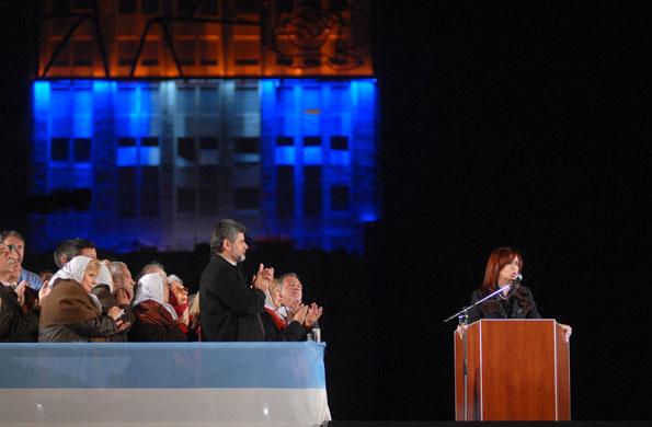 """Cristina Kirchner durante la inauguración del mural """"Eva de los humildes"""""""