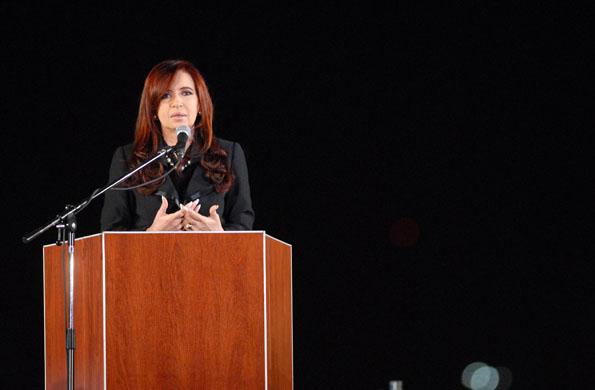 Cristina Kirchner homenajeando el aniversario por la muerte de Eva Perón