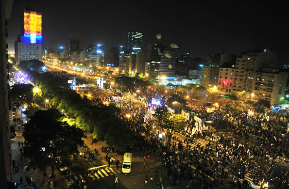 La Avenida 9 de Julio durante la inauguración de la imagen de Evita en el ex MOP