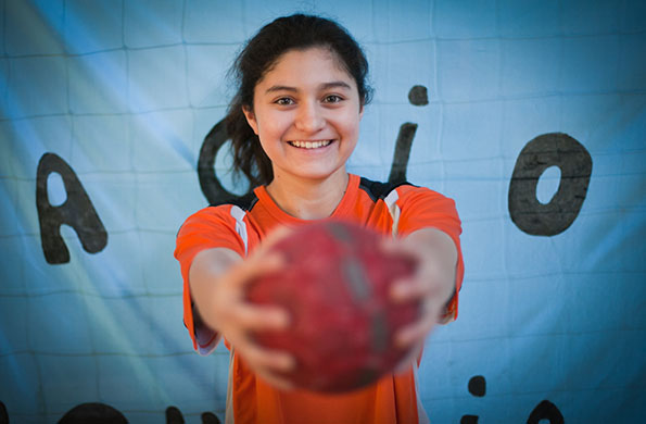 Rocío Moreyra tiene 14 años e integra el equipo Sub 14 femenino de handball.