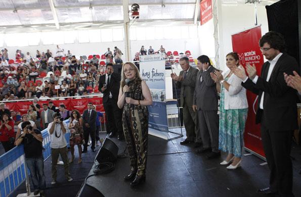 La ministra Alicia Kirchner durante la actividad realizada hoy en Morón.