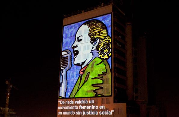 La proyección se hizo sobre la fachada del MOP.
