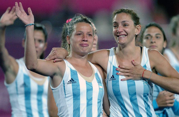 Las Leonas durante la final contra Holanda en Juegos Olímpicos 2012.