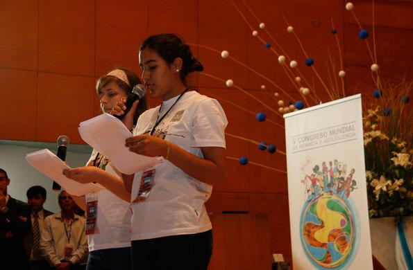 Los niños y niñas participantes tuvieron la palabra en el congreso.