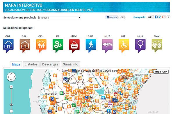 El mapa interactivo incluye más de 1.600 centros y organizaciones de todo el país.