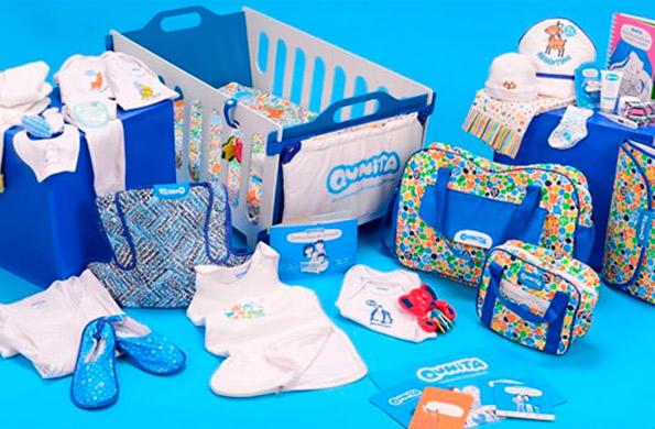 El kit contiene una cuna, ropa blanca, indumentaria para el recién nacido entre otros elementos.