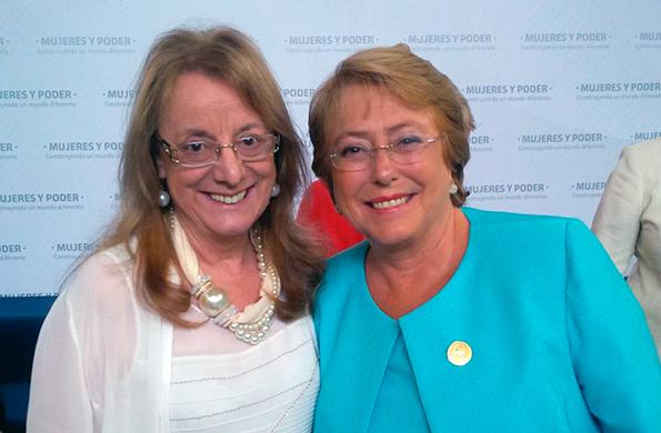 Alicia Kirchner junto a la Presidenta de Chile, Michelle Bachelet.