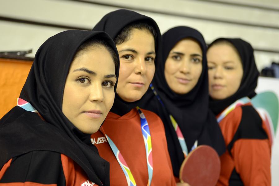 La deportista junto a los miembros de su delegación.