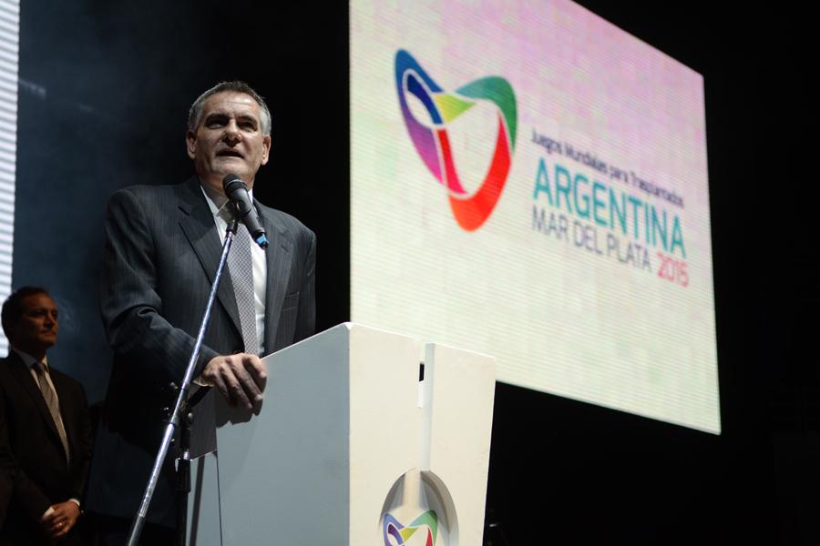 Carlos Castagneto durante el acto de apertura de los juegos.