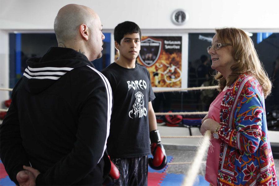 También visitó la escuela de boxeo chino del Boxin Club,