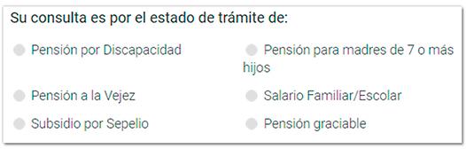 Selección de la pensión para la consulta del estado de trámite