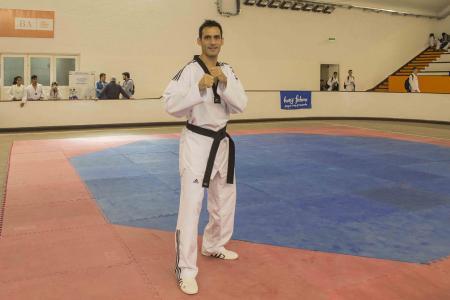 Crismanich en la previa al inicio de su clínica en el Palacio de los Deportes.