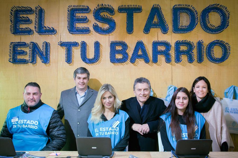 Mauricio Macri, Carolina Stanley y Marcos Peña en tecnópolis