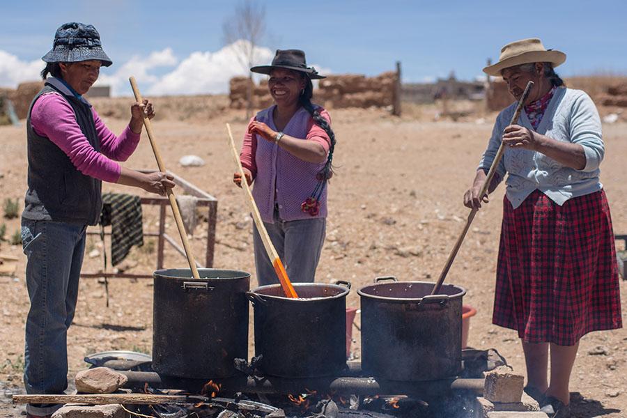 Imagen ilustrativa de Martina junto a sus compañeras de Red Puna tiñendo la lana.