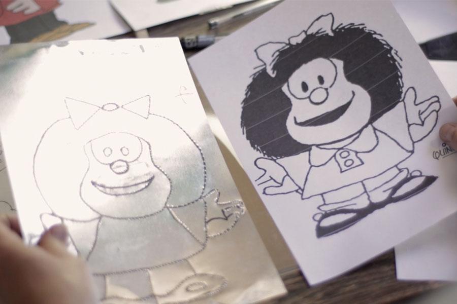Fotografía ilustrativa de la imagen de Mafalda en braille.