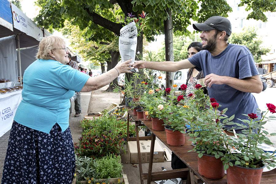 Imagen ilustrativa de abuela recibiendo un plantín de la economía social