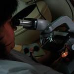 Doctora analizando muestras médicas.